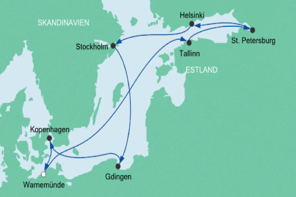 Karte Ostsee-Klassiker Cruise